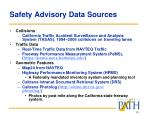 safety advisory data sources