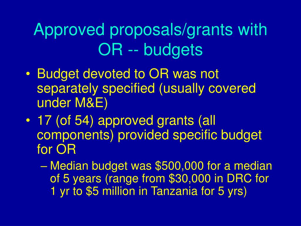 Approved proposals/grants with OR -- budgets