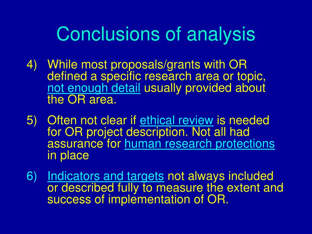 Conclusions of analysis