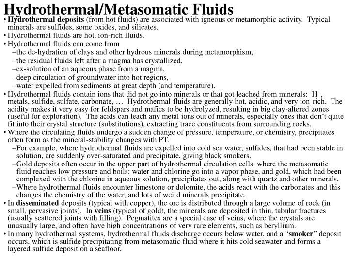 Hydrothermal/Metasomatic Fluids