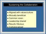 sustaining the collaboration