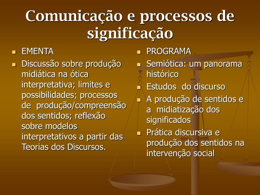 comunica o e processos de significa o l.