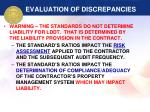 evaluation of discrepancies