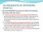 co requests of offerors 45 201 c