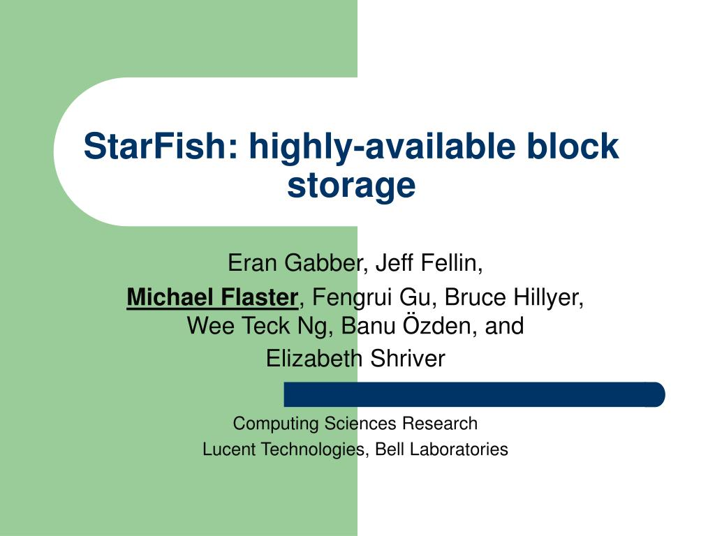 starfish highly available block storage l.