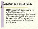 valuation de l exposition 2