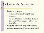 valuation de l exposition