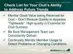 check list for your club s ability to address future trends62