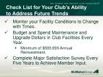 check list for your club s ability to address future trends63
