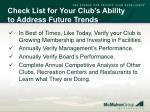 check list for your club s ability to address future trends64