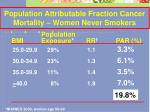 population attributable fraction cancer mortality women never smokers