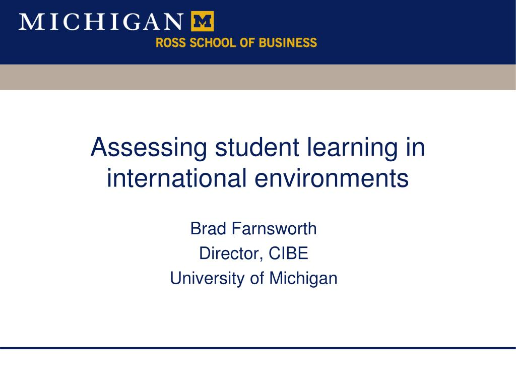 assessing student learning in international environments l.