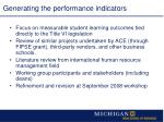 generating the performance indicators