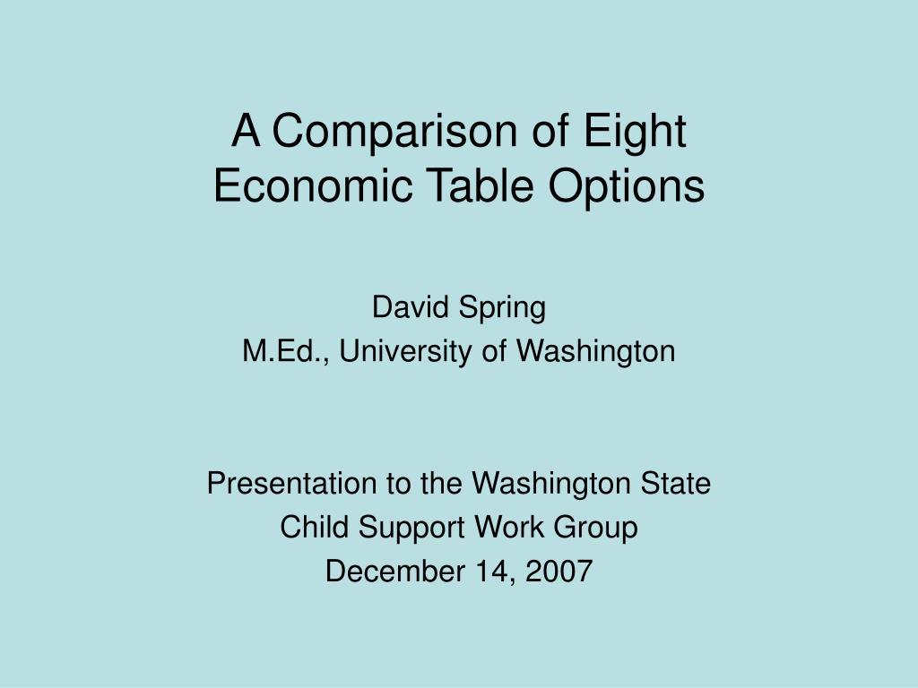 a comparison of eight economic table options l.