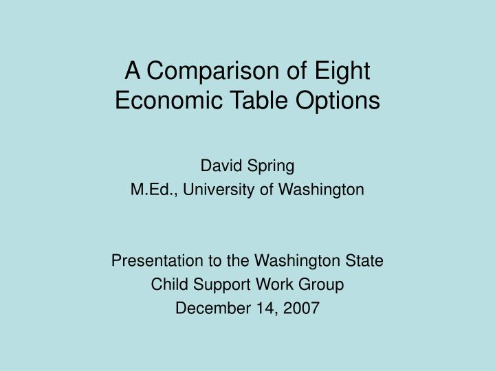 a comparison of eight economic table options n.