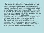 concerns about the usda per capita method