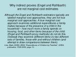 why indirect proxies engel and rothbarth are not marginal cost estimates