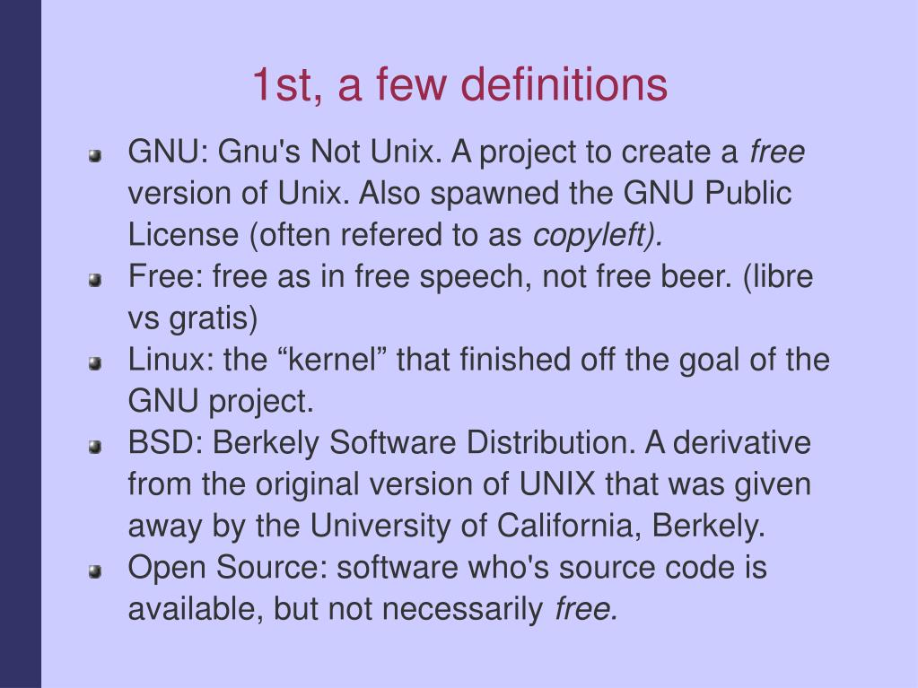 1st, a few definitions