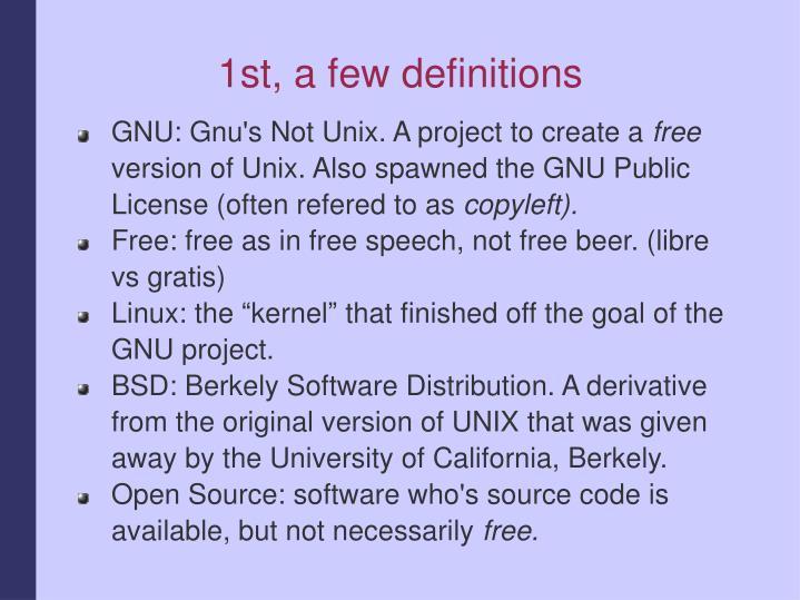 1st a few definitions