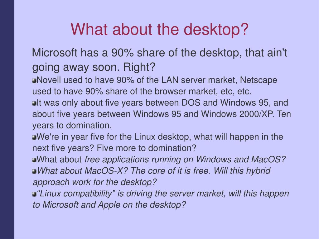 What about the desktop?