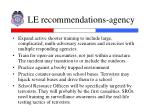 le recommendations agency