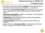 salient points on m e for programmes