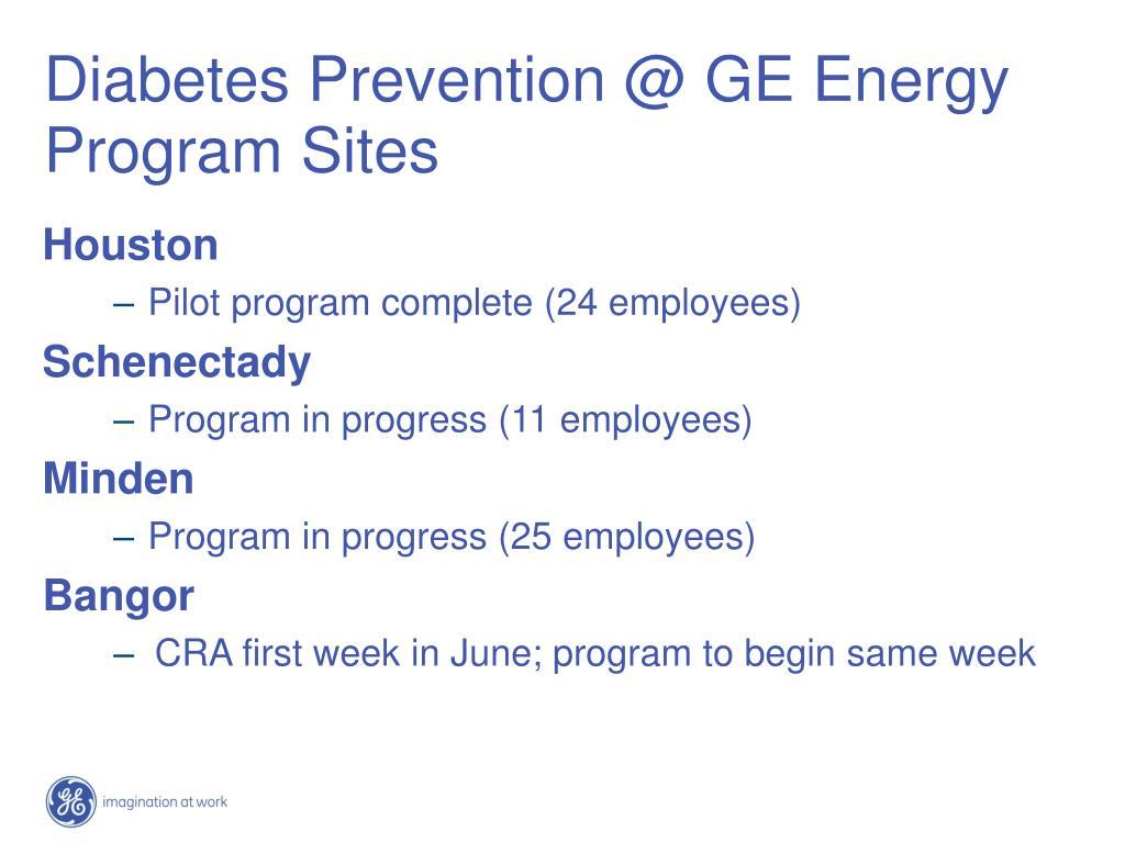 Diabetes Prevention @ GE Energy