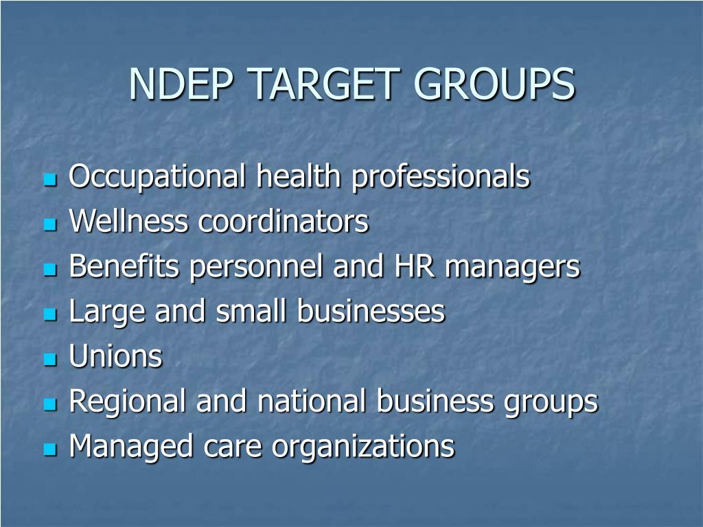 NDEP TARGET GROUPS