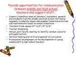 provide opportunities for communication between middle and high school teachers and support staff