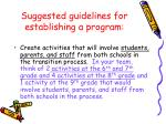 suggested guidelines for establishing a program19
