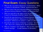 final exam essay questions