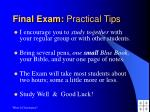 final exam practical tips
