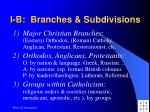 i b branches subdivisions