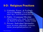 ii d religious practices