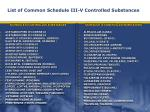 list of common schedule iii v controlled substances
