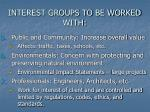 interest groups to be worked with14