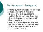 the unemployed background