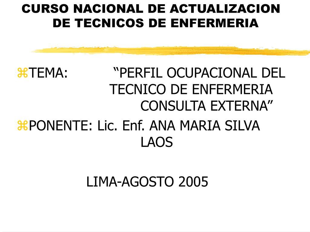 curso nacional de actualizacion de tecnicos de enfermeria l.