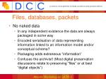 files databases packets