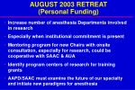 august 2003 retreat personal funding