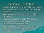 personnel bep team
