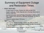 summary of equipment outage and restoration times