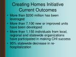 creating homes initiative current outcomes
