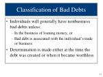 classification of bad debts