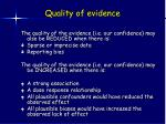 quality of evidence24