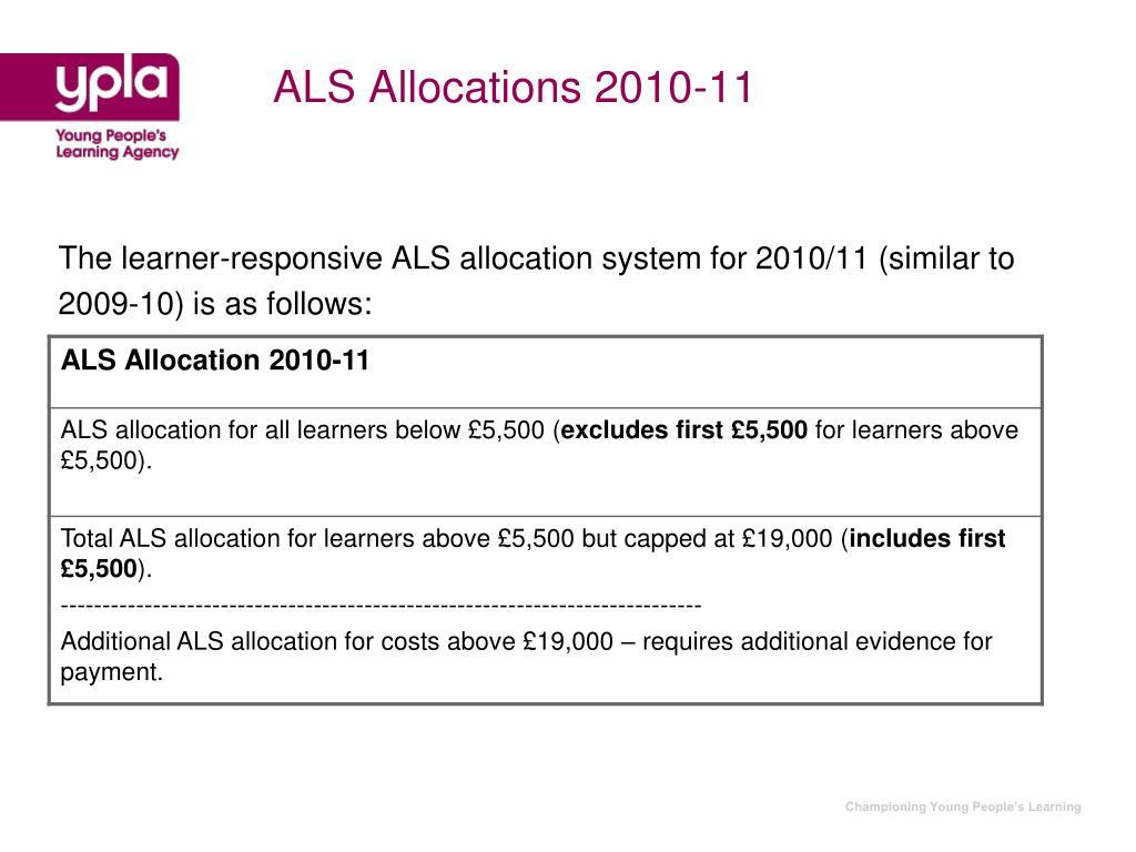 ALS Allocations 2010-11