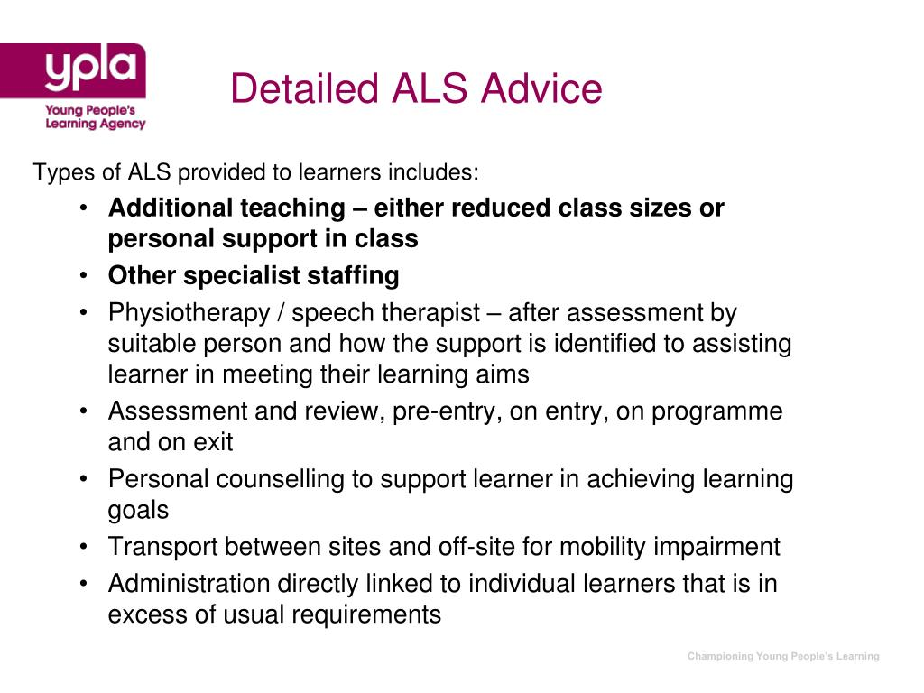 Detailed ALS Advice