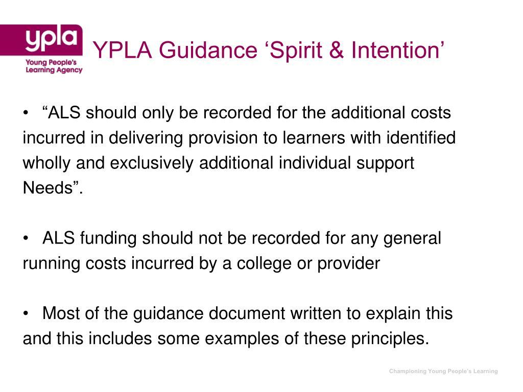 YPLA Guidance 'Spirit & Intention'
