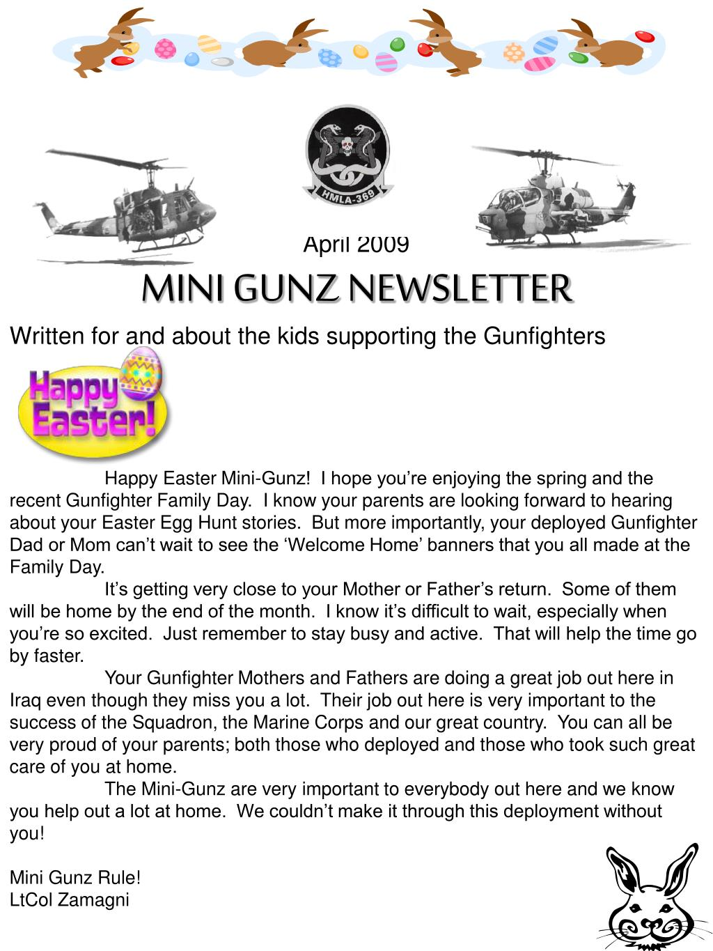 april 2009 mini gunz newsletter written for and about the kids supporting the gunfighters l.