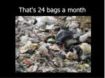 that s 24 bags a month